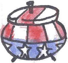 This is a crude drawing of a crockpot, decorated in red and white stripes and white stars on blue, similar to an Uncle Sam-style hat.