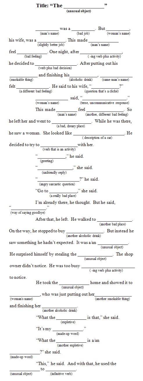 Carver Mad Libs